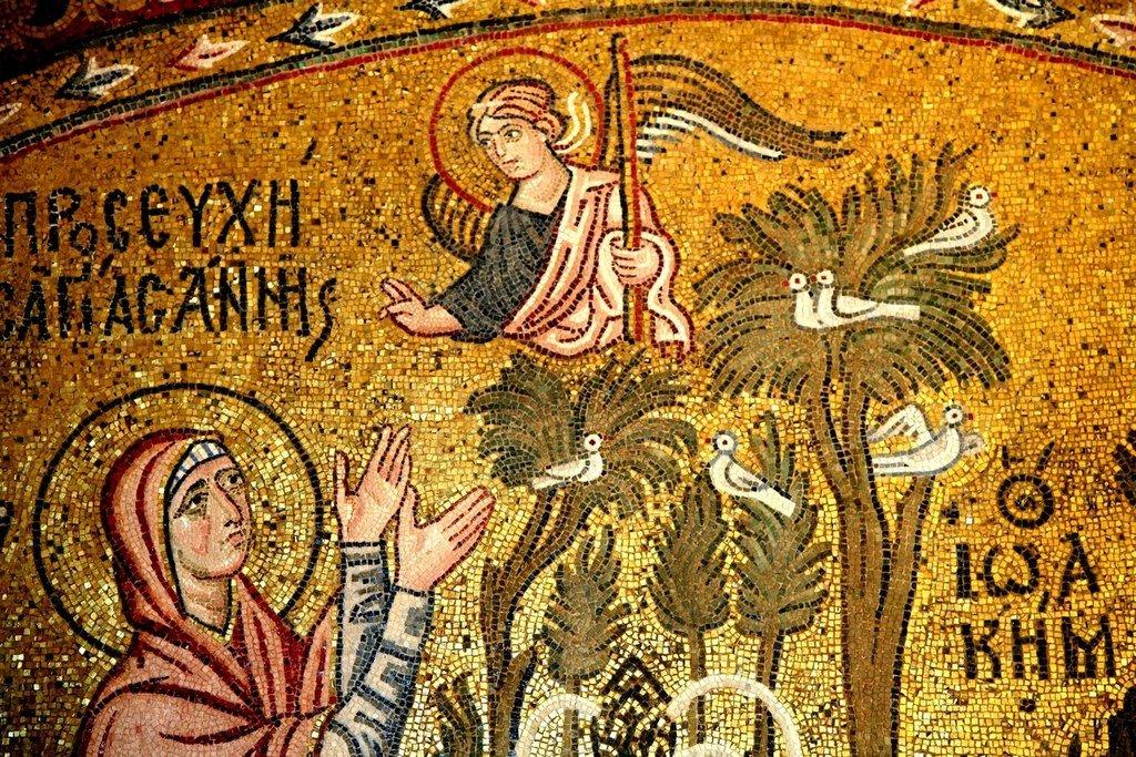 Благовестие Святым Праведным Иоакиму и Анне. Мозаика монастыря Дафни близ Афин. XI век. Фрагмент.