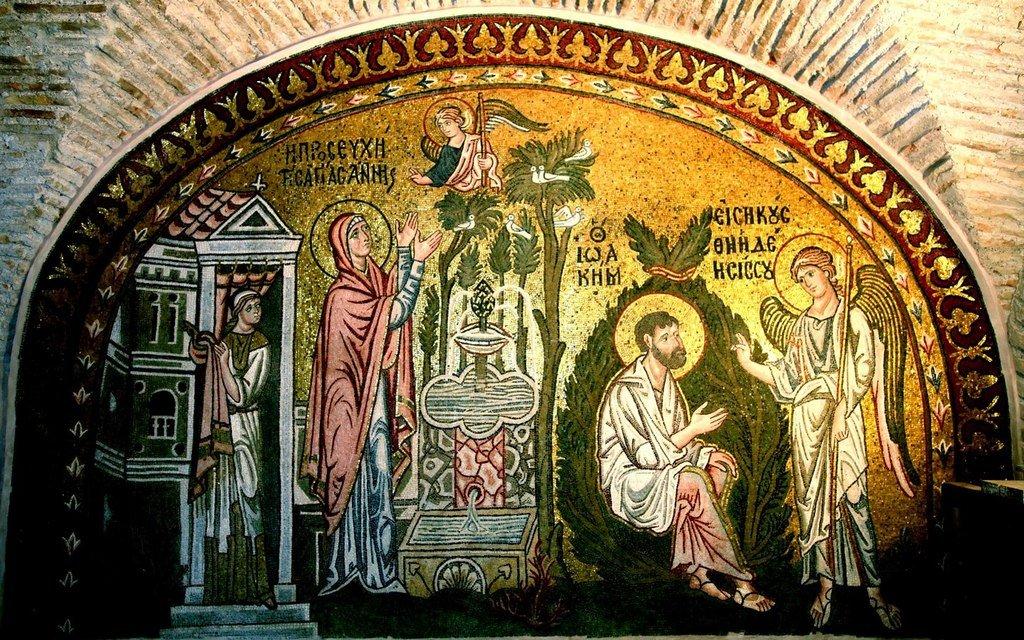 Благовестие Святым Праведным Иоакиму и Анне. Мозаика монастыря Дафни близ Афин. XI век.