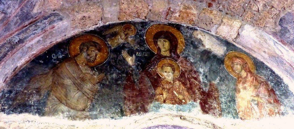 Пресвятая Богородица с Младенцем и Святыми Праведными Иоакимом и Анной. Фреска церкви Богоматери Одигитрии в монастыре Вронтохион в Мистре, Греция. XIV век.