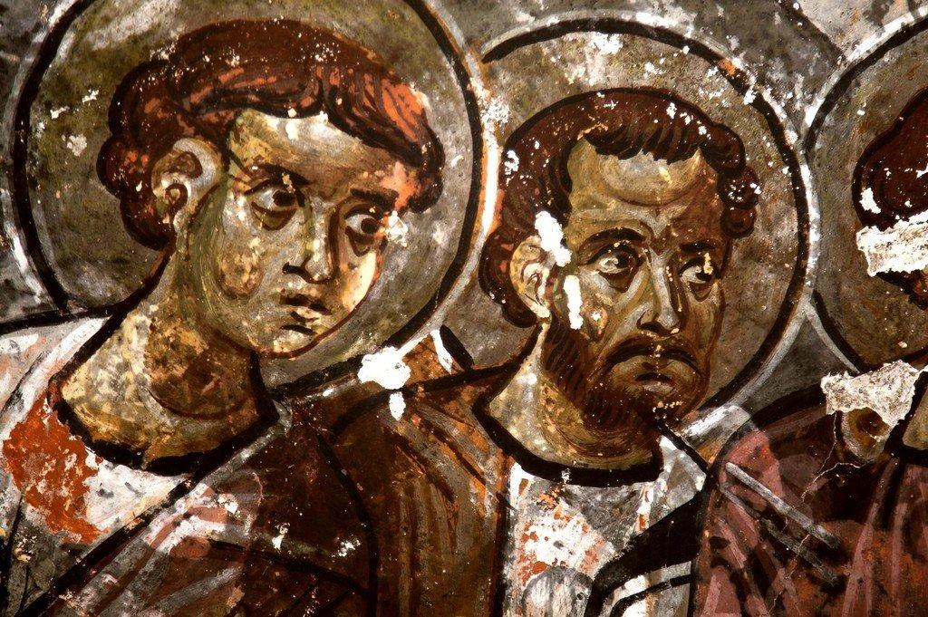 Евхаристия (Причащение Апостолов). Фреска церкви Карабаш килисе в Соганлы, Каппадокия. Фрагмент.