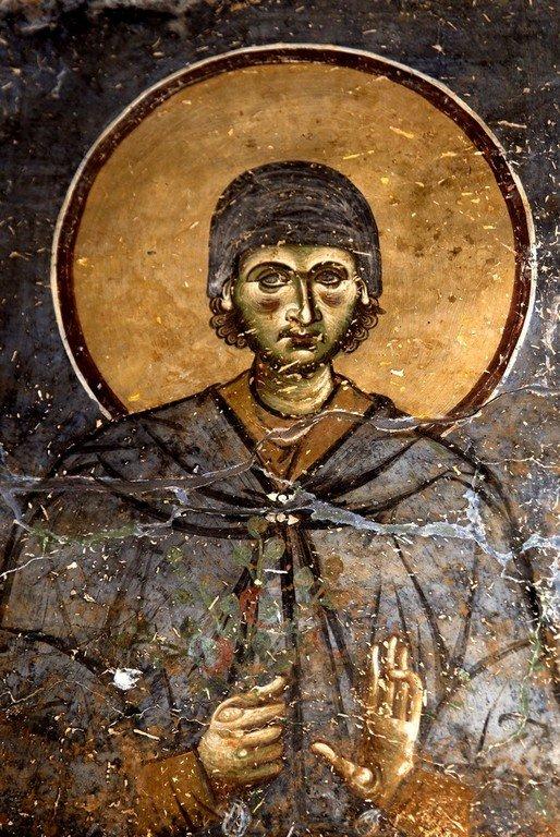 Святой Преподобный Евфросин Палестинский, повар. Фреска церкви Святого Георгия в Курбиново, Македония. 1191 год.