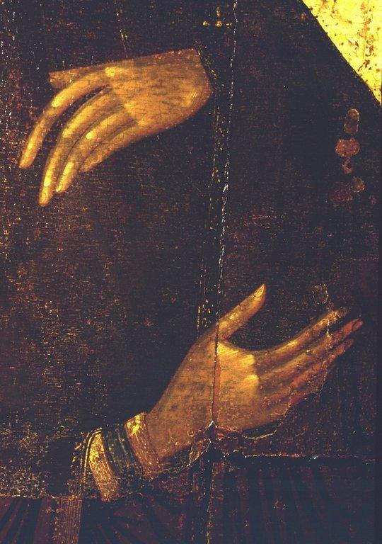 Пресвятая Богородица. Икона из Высоцкого деисусного чина. Константинополь, 1380-е - 1390-е годы. Фрагмент.
