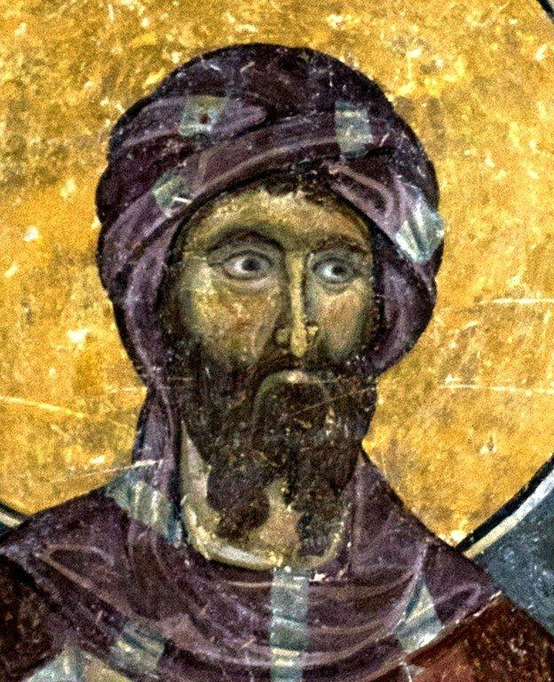 Священномученик Корнилий сотник. Византийская фреска в церкви Старая Митрополия в Верии, Греция.