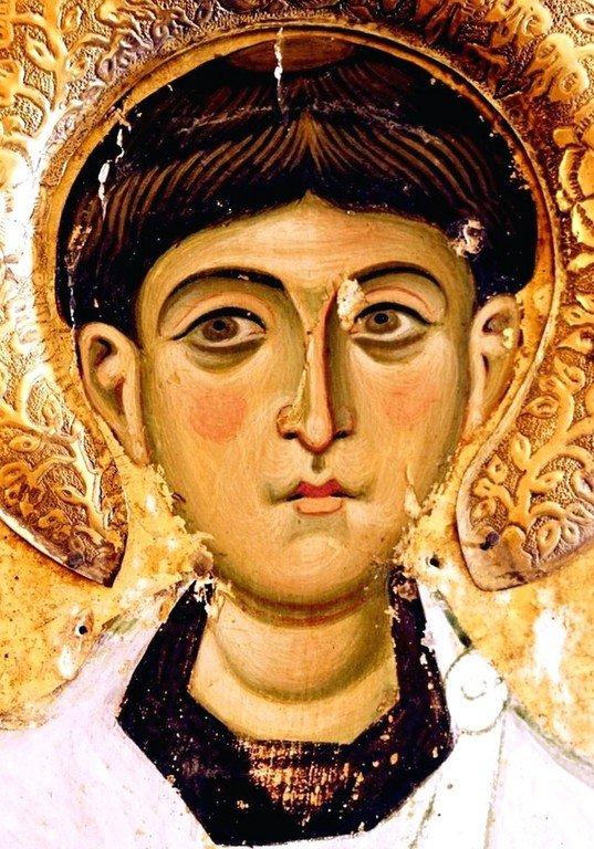 Святой Апостол от Семидесяти, Первомученик и Архидиакон Стефан. Византийская икона в монастыре Святой Екатерины на Синае. Фрагмент.