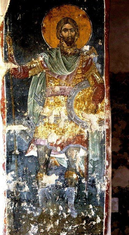 Святой Великомученик Никита Готфский. Византийская фреска в церкви Старая Митрополия в Верии, Греция.