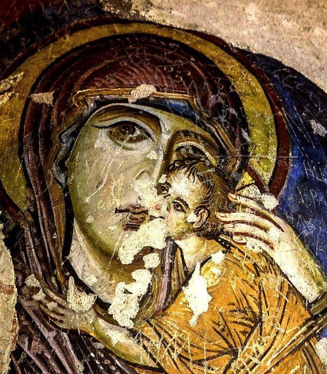 Богоматерь Елеуса. Фреска церкви Токалы килисе в Гёреме, Каппадокия. X век. Фрагмент.