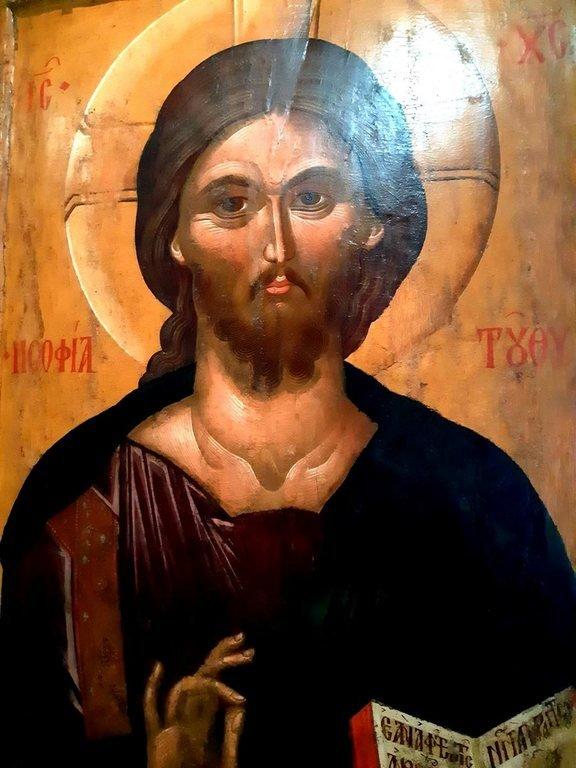 Христос Пантократор. Византийская икона конца XIV века. Византийский музей в Салониках, Греция. Фрагмент.