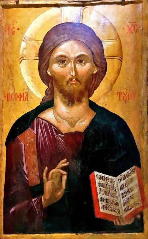 Христос Пантократор. Византийская икона конца XIV века. Византийский музей в Салониках, Греция.
