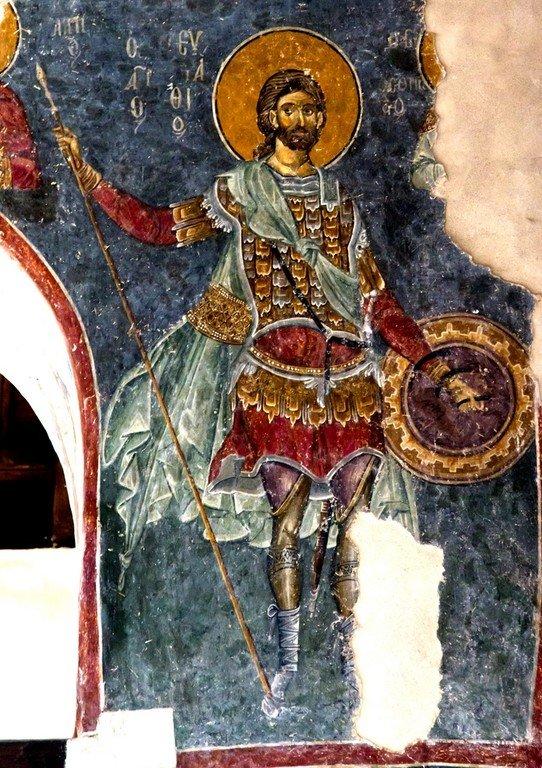Святой Великомученик Евстафий Плакида. Византийская фреска в церкви Старая Митрополия в Верии, Греция.