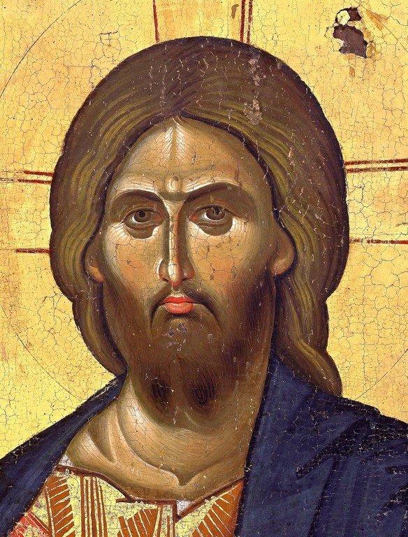 Христос Пантократор. Византийская икона XIII века. Монастырь Ватопед на Афоне. Фрагмент.