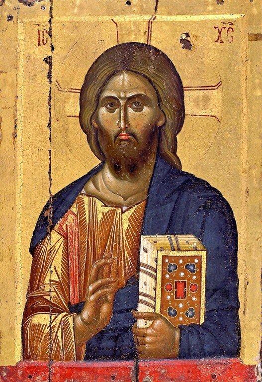 Христос Пантократор. Византийская икона XIII века. Монастырь Ватопед на Афоне.