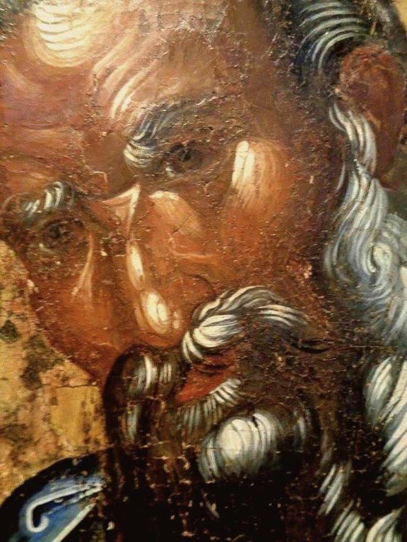 Святой Апостол и Евангелист Иоанн Богослов. Византийская икона второй половины XIV века. Византийский церковный музей в Митилене, Греция. Фрагмент.