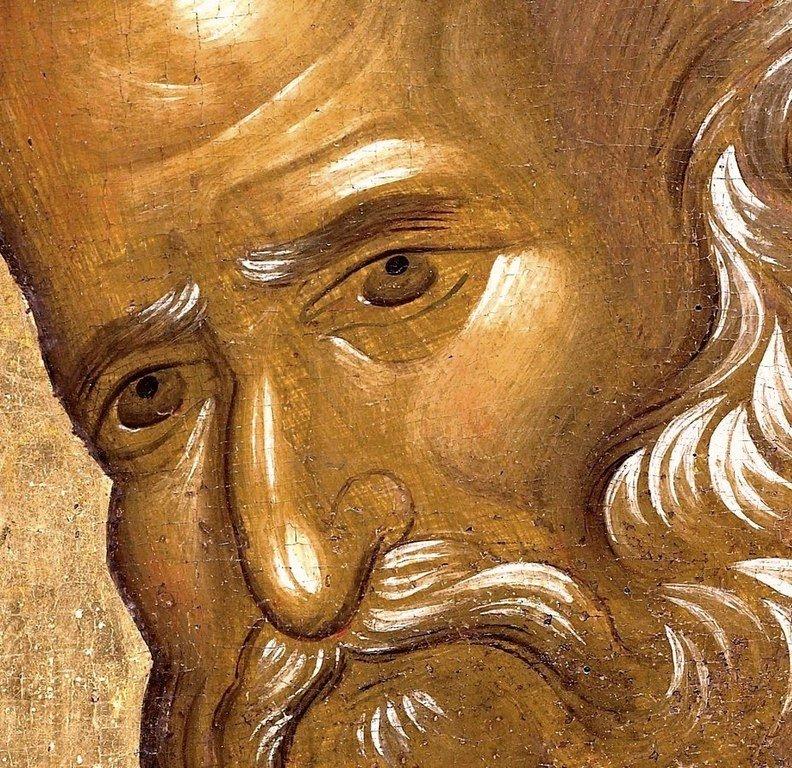 Святой Апостол и Евангелист Иоанн Богослов. Византийская икона второй половины XIV века. Монастырь Ватопед на Афоне. Фрагмент.