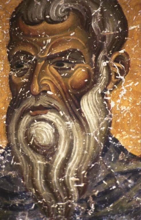 Святой Преподобный Харитон Исповедник. Фреска монастыря Святого Иоанна Богослова на острове Патмос, Греция. Конец XII века.