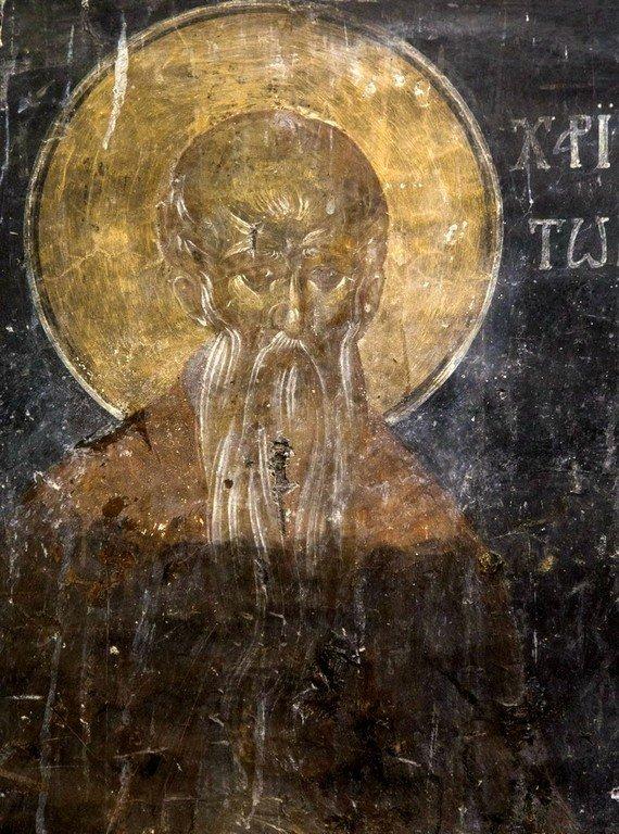 Святой Преподобный Харитон Исповедник. Фреска церкви Святого Георгия в Оморфокклисии, Кастория, Греция. 1295 - 1317 годы.