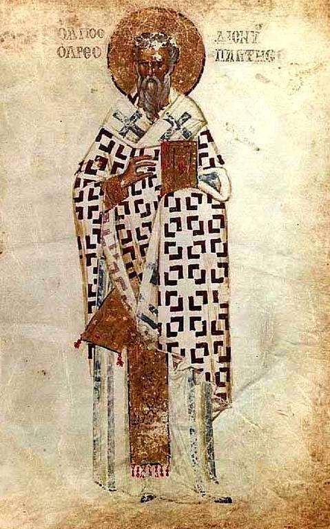 Священномученик Дионисий Ареопагит, Епископ Афинский. Византийская миниатюра.