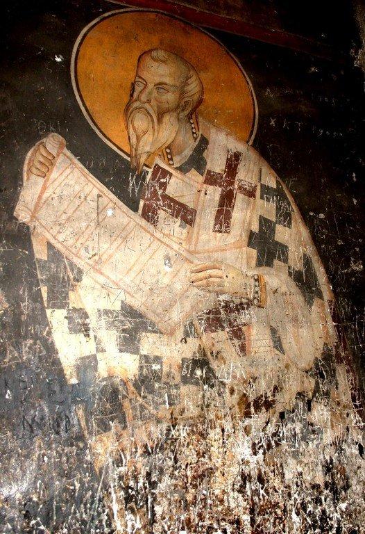 Святитель. Фреска монастыря Панагии Олимпиотиссы в Элассоне, Греция. Конец XIII века.