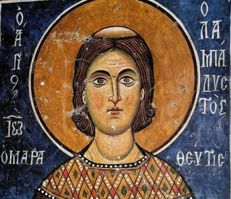 """Святой Преподобный Иоанн Лампадист. Византийская фреска в церкви Святого Николая """"тис стегис"""" (""""под крышей"""") на Кипре."""