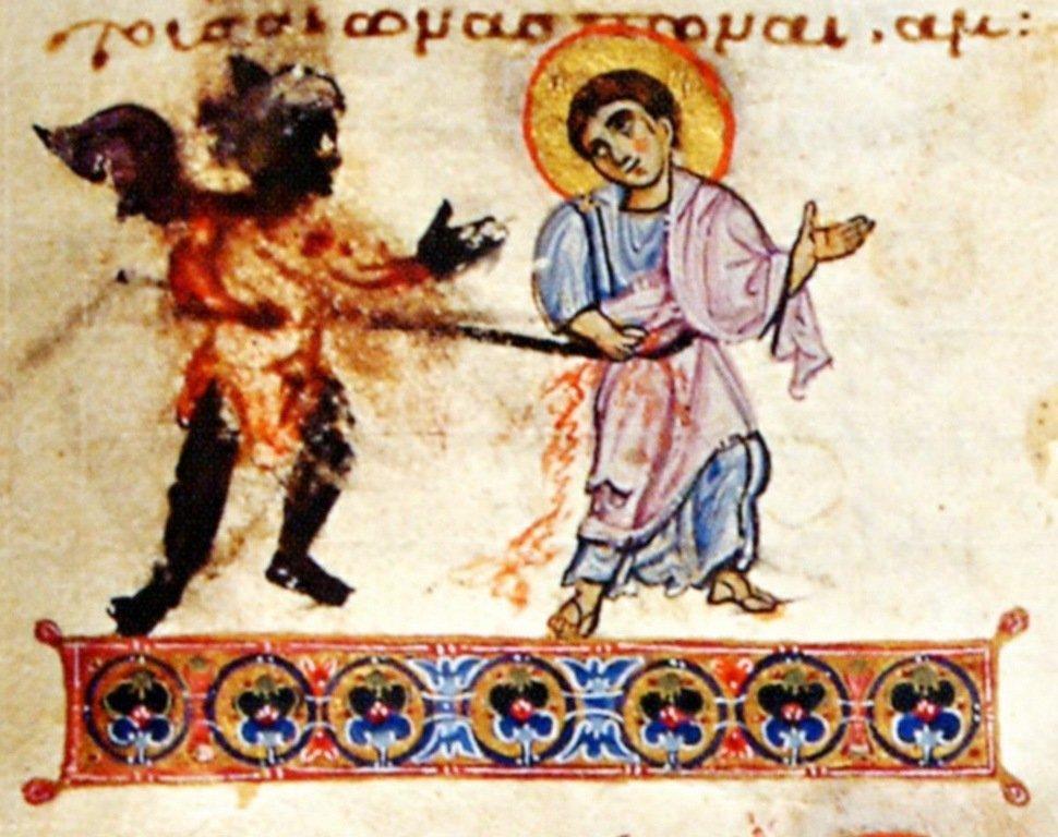 Мученичество Святого Апостола Фомы. Византийская миниатюра. Около середины XI века.