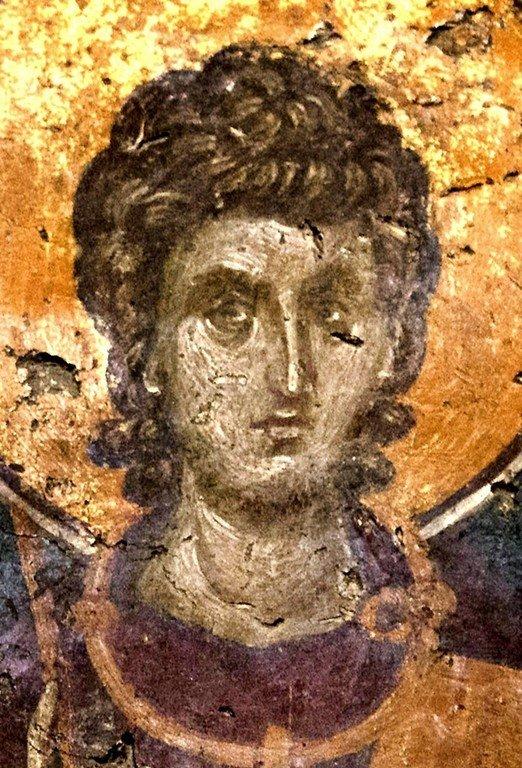 Святой Мученик Вакх Римлянин. Фреска церкви Святого Николая Орфаноса в Салониках, Греция. 1310 - 1315 годы.