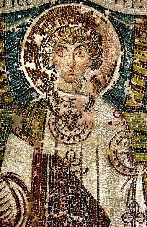 Святой Мученик Сергий Римлянин. Ранневизантийская мозаика в церкви Святого Димитрия в Салониках, Греция. Фрагмент.