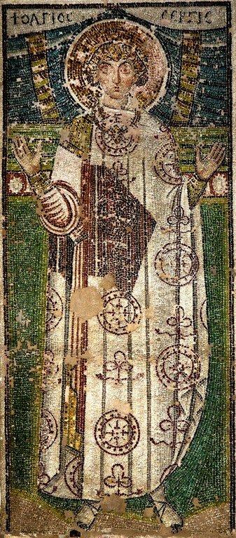 Святой Мученик Сергий Римлянин. Ранневизантийская мозаика в церкви Святого Димитрия в Салониках, Греция.