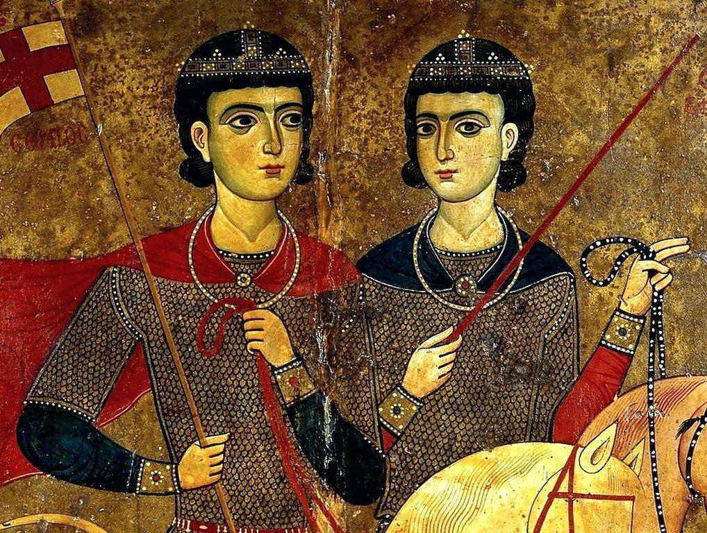 Святые Мученики Сергий и Вакх. Икона. 1260 - 1270-е годы. Монастырь Святой Екатерины на Синае. Фрагмент.