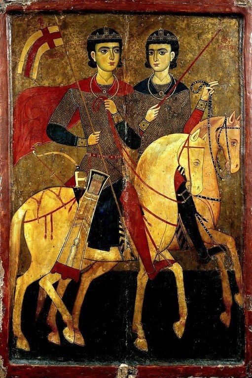 Святые Мученики Сергий и Вакх. Икона. 1260 - 1270-е годы. Монастырь Святой Екатерины на Синае.