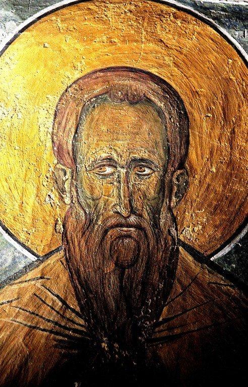 Святой Преподобный Андроник. Фреска церкви Панагии Аракиотиссы в деревне Лагудера на Кипре. 1192 год.