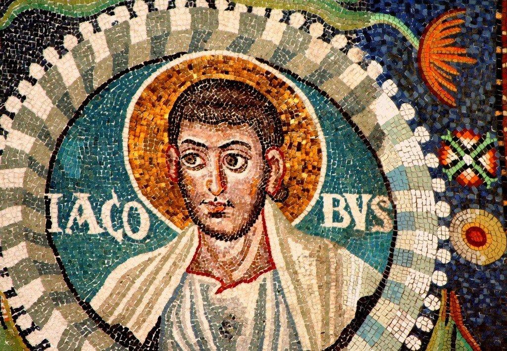 Святой Апостол Иаков Алфеев. Византийская мозаика в церкви Сан-Витале в Равенне. VI век.