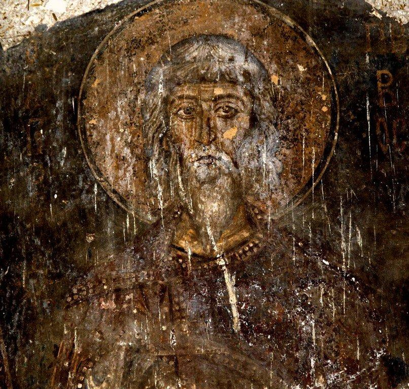 Святой Мученик Пров. Фреска монастыря Влахерна (Влахернского монастыря) близ Арты, Греция. Середина XIII века.