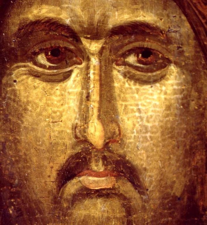 Христос Душеспаситель. Икона. Византия,около 1312—1325 годов. Галерея икон в Охриде, Македония. Фрагмент.