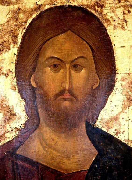 Лик Спасителя. Фрагмент иконы из Высоцкого деисусного чина. Константинополь, 1380-е - 1390-е годы.