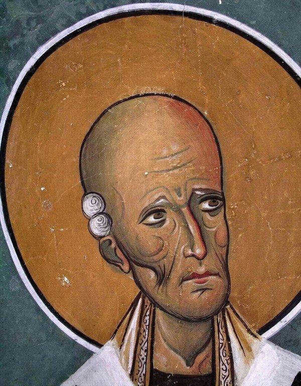 Святой Праведный Лазарь Четверодневный, Епископ Китийский. Фреска церкви Панагии Аракиотиссы в деревне Лагудера на Кипре. 1192 год.