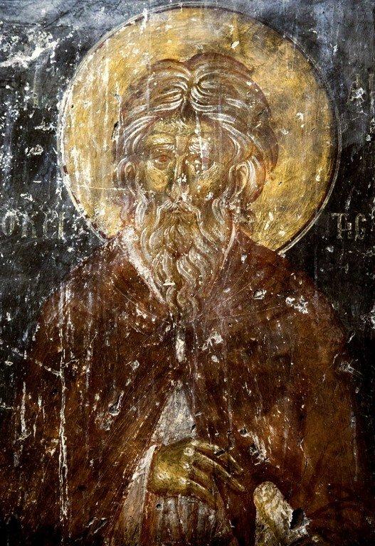Святой Преподобномученик Андрей Критский. Фреска церкви Святого Георгия в Оморфокклисии, Кастория, Греция. 1295 - 1317 годы.