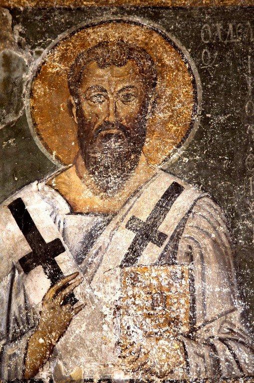 Святой Апостол Иаков, брат Господень. Фреска собора Святой Софии в Охриде, Македония. XI век.