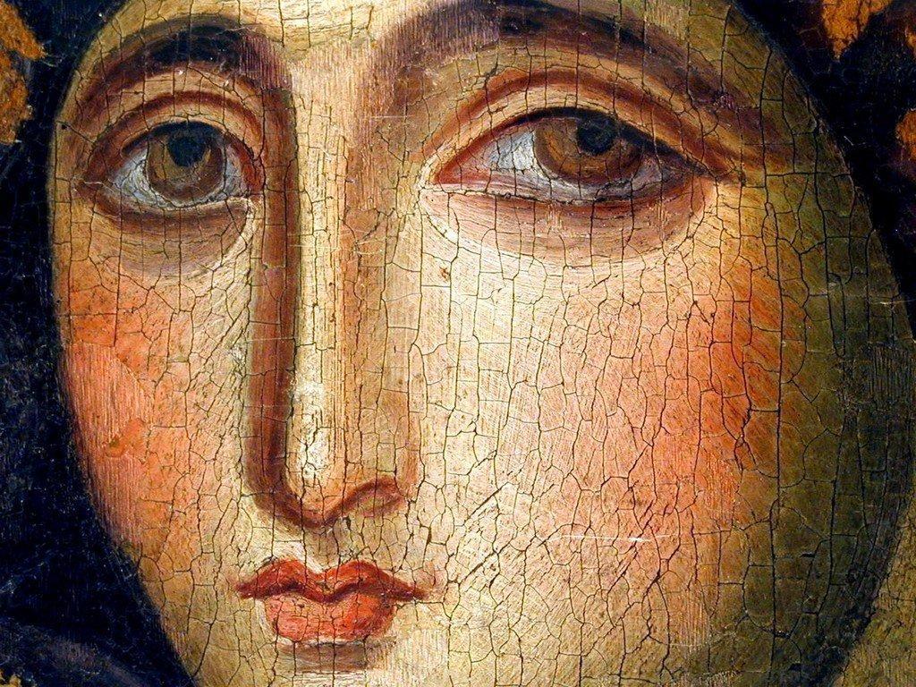 Богоматерь Агиосоритисса. Икона. Византия (Сирия или Палестина), VII век. Церковь Санта Мария дель Розарио в Риме. Фрагмент.