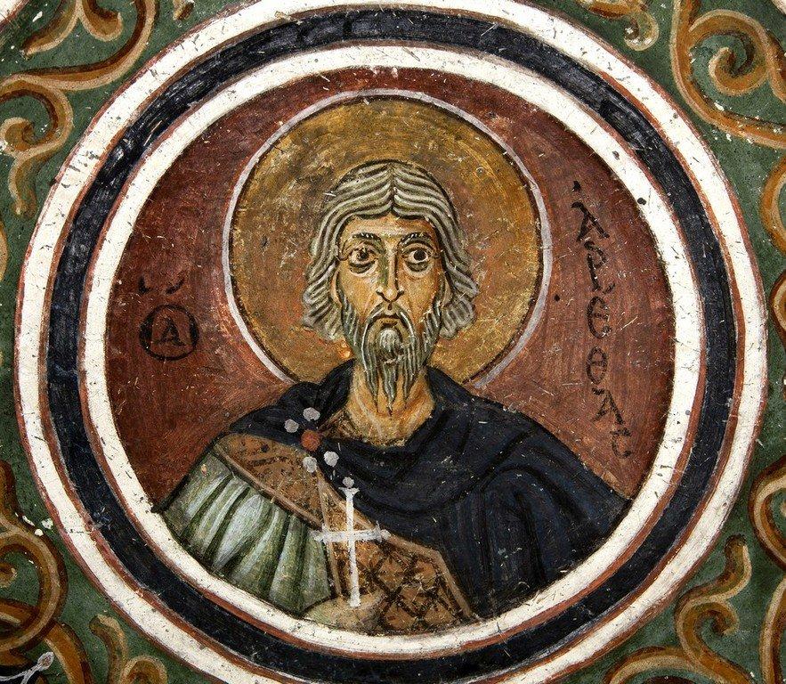 Святой Мученик Арефа Негранский. Фреска монастыря Осиос Лукас, Греция. 1030 - 1040-е годы.