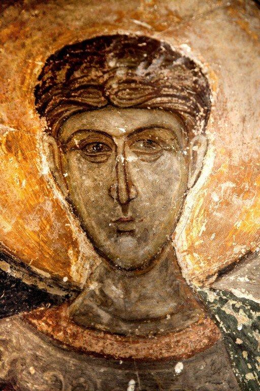 Святой Великомученик Димитрий Солунский. Византийская фреска в церкви Святых Архангелов в Кастории, Греция.