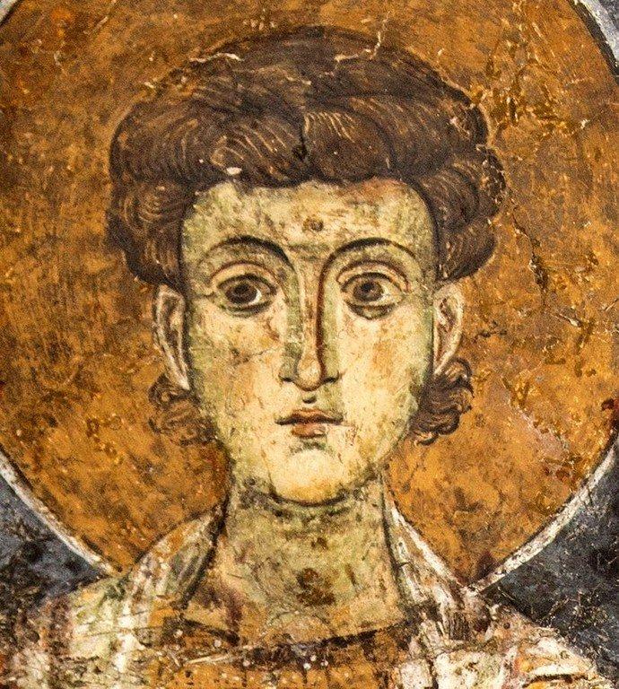 Святой Великомученик Димитрий Солунский. Византийская фреска в церкви Святого Стефана в Кастории, Греция.