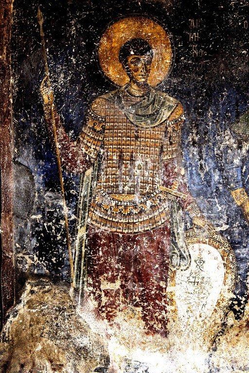 Святой Великомученик Димитрий Солунский. Фреска церкви Святого Николая Каснициса в Кастории, Греция. Конец XII века.
