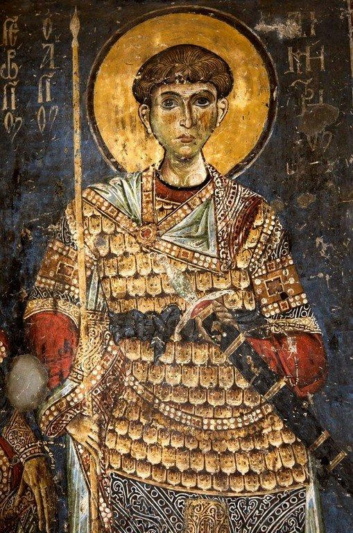 Святой Великомученик Димитрий Солунский. Фреска церкви Святых Врачей в Кастории, Греция. Конец XII века.