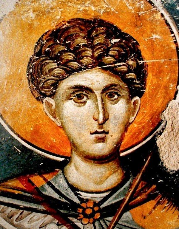 Святой Великомученик Димитрий Солунский. Фреска церкви Святого Николая Орфаноса в Салониках, Греция. 1310 - 1315 годы.