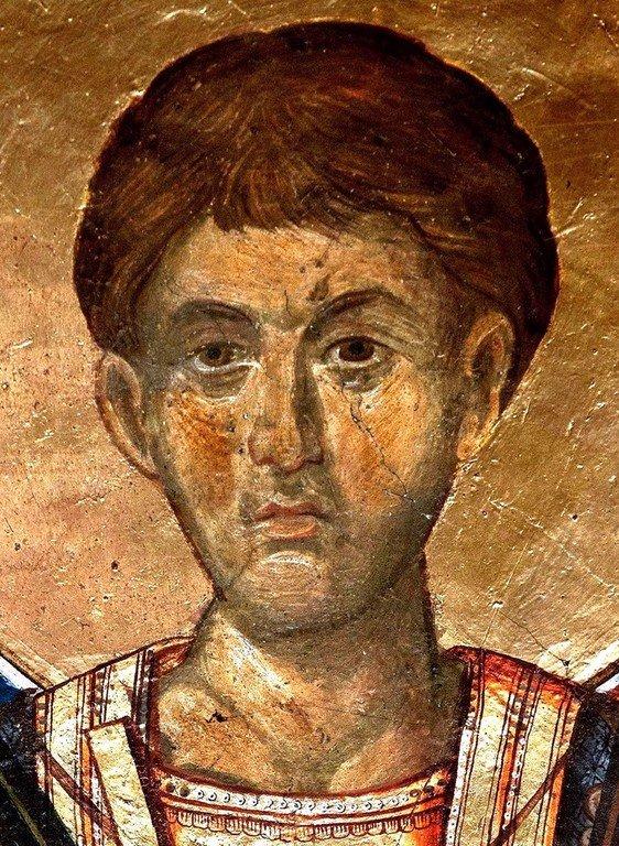 Святой Великомученик Димитрий Солунский. Фреска монастыря Пантократор на Афоне. 1363 год.