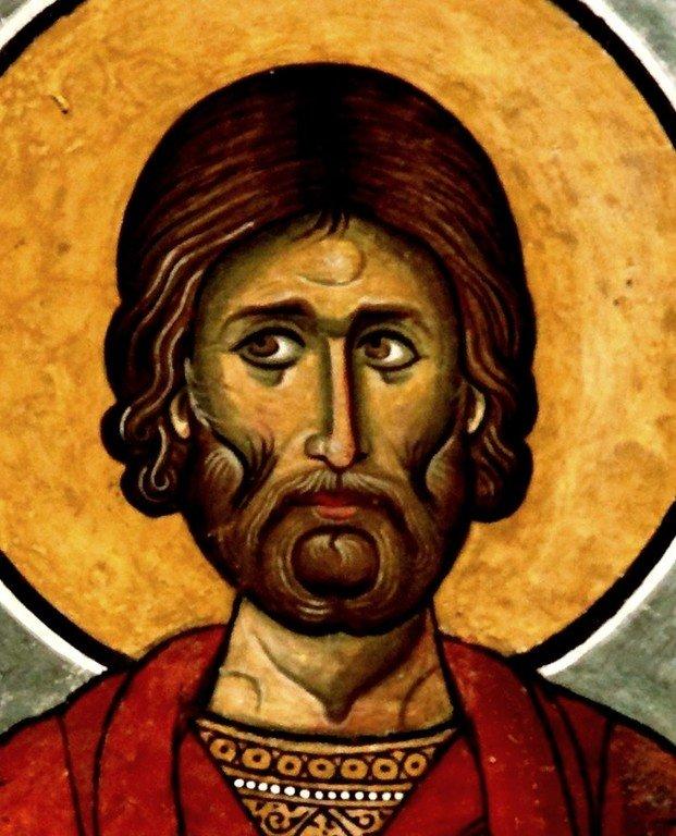 Святой Мученик Аффоний Персидский. Фреска церкви Панагии Аракиотиссы в деревне Лагудера на Кипре. 1192 год.