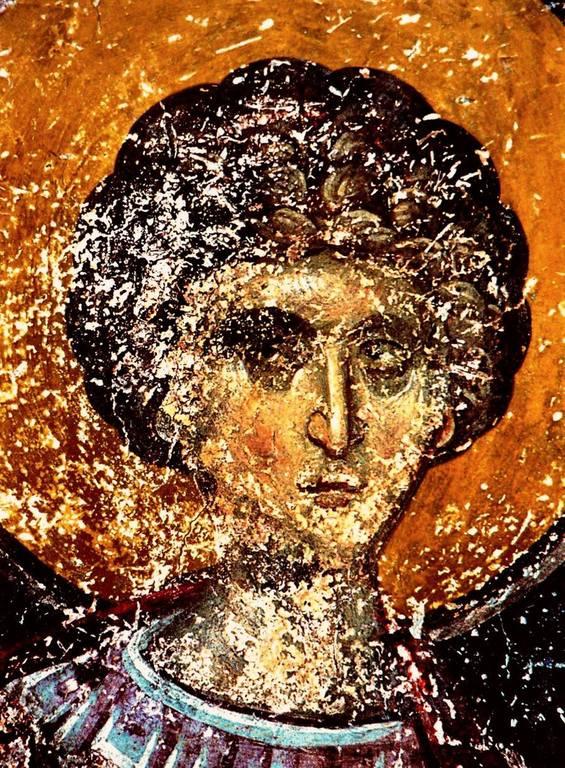 Святой Великомученик Георгий Победоносец. Фреска церкви Воскресения Христова в Верии, Греция. 1315 год. Иконописец Георгий Каллиергис.