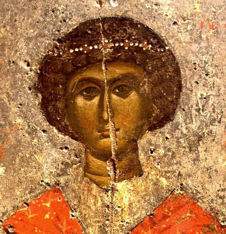 Святой Великомученик Георгий Победоносец. Византийская икона. Византийский музей в Кастории, Греция. Лик.