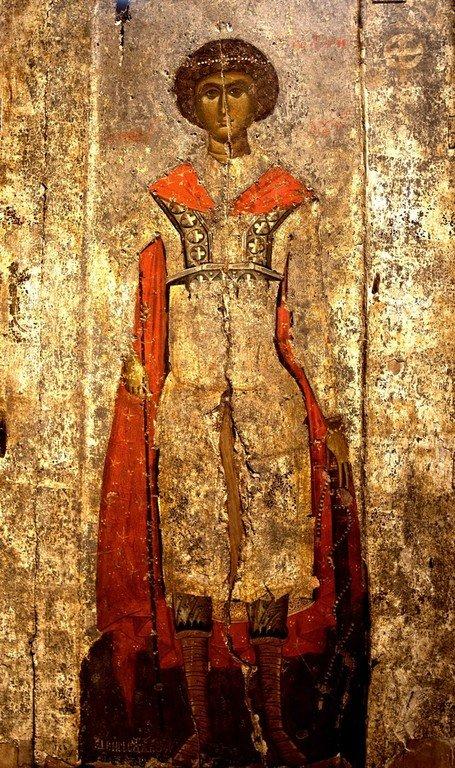 Святой Великомученик Георгий Победоносец. Византийская икона. Византийский музей в Кастории, Греция.