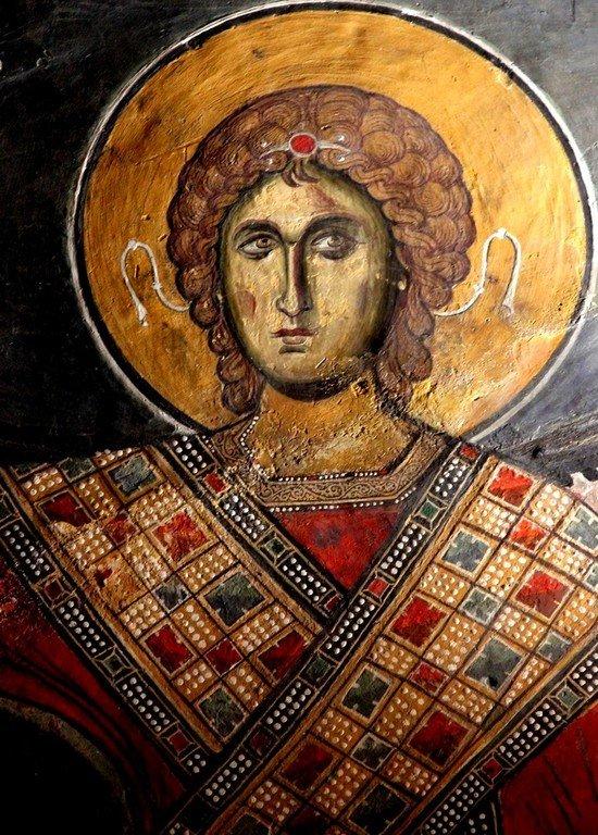 Архистратиг Михаил. Фреска церкви Панагии Аракиотиссы в деревне Лагудера на Кипре. 1192 год.