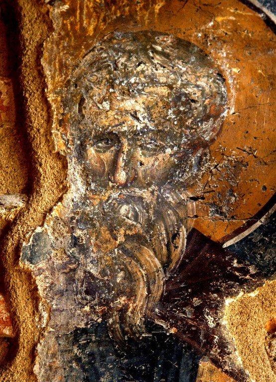 Святой Преподобный Иоанн Колов. Фреска церкви Святой Екатерины в Салониках, Греция. 1315 год.
